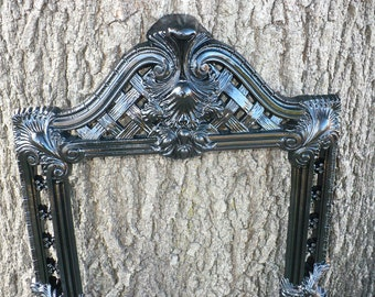 Large Black ORNATE Picture Frame French Gothic Victorian Vintage Gallery Wall Glam Luxe Hollywood Regency Baroque