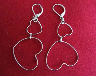 """Vintage Heart Pierced Dangle Earrings; Slender Wire; Double Heart; Silver tone; French (closed) Clasps; 2-1/2"""" L; Valentine's Day Gift"""