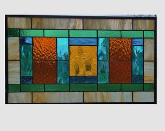 Arts and crafts stained glass window panel hanging amber stained glass panel window prairie mission style 0240 19 1/4 x 11 1/2