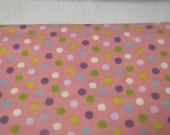 "Pink flannel fabric with medium size dots in white, green, hellow, purple and blue - 4 yds - 44"" wide"
