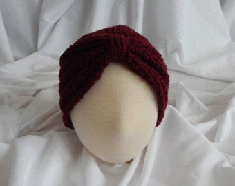Baby Turban Hat Crochet in Wine - 3 to 6 Months - Makes a Great Photo Prop