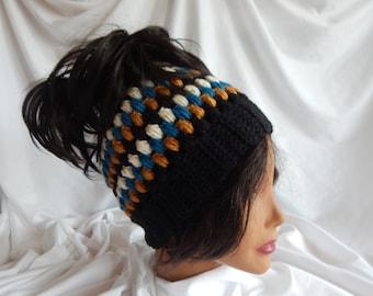 Messy Bun Hat Pony Tail Hat - Crochet Woman's Fashion Hat - Black, Teal, Honey, Beige