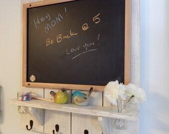 Reclaimed wood blackboard shelf, Wood coatracks  ,Hallway wood organizer with Mason jars