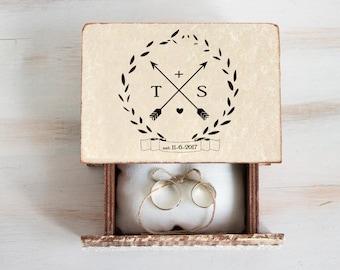 Personalized Ring Bearer Box Wedding Ring Box Arrows Wedding Box Custom Ring Box Pillow Еngagement Box Wedding Ring Box Wedding Ring Holder