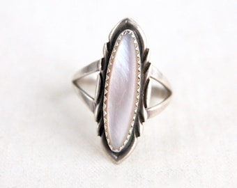 Mother of Pearl Ring Size 7 Vintage Southwestern Long Ring MOP Sterling Silver Signed BAL