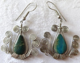 Vintage wire wrapped stone lyre shaped earrings