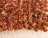 New Item! 144 Paper Roses / Sienna Brown Flowers / 12 Dozen Artificial Flowers / 14 mm / Bridal / Scrapbooking / Wedding Favors / Millinery