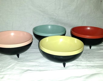 Retro 1950's footed bowls Therm-o-bowls Reinecke