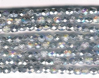6mm Crystal Silver Rainbow Firepolish Glass, 6mm Faceted Silver Glass, 6mm Silver Aurora Borealis, 6mm Firepolish Glass, 6mm Metallic Bead