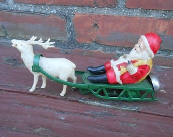 Vintage Santa on Sleigh Reindeer Celluloid and Tin Wind Up Toy Christmas Occupied Japan