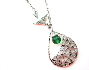 Silver swallow necklace jewelry with green bead, metal teardrop charm necklace