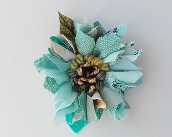 Fabric and leather corsage, brooch, pin on flower, lapel pin, rag rug flower,turquoise shades