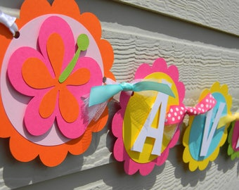 Luau Flowers Summer Birthday Party Personalized Name Banner - Party Decorations - Party Supplies - Party Decor - Party Garland