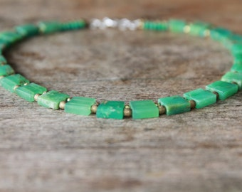 Stunning Chrysoprase Choker with Brass Beads and Sterling Silver Clasp.