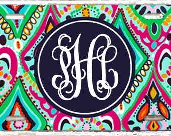 Personalized License Plate- Monogrammed Car Tag- Perfect Sweet Sixteen Gift - Lilly Inspired Jeweled