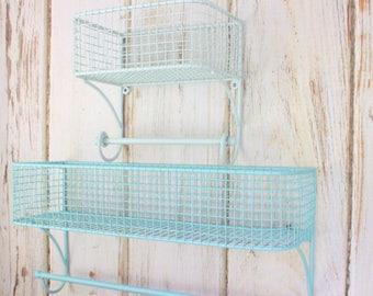 SET Bathroom Organizer, Basket Towel Rod, Bathroom Shelf, Bathroom Storage, Industrial, Towel Rack, Farmhouse Style, Wire Shelf, Fixer Upper