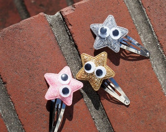 Gold, Silver, Pink Glitter Star on Snap Clips (Set of 3) - for all ages