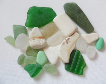 22 green white and cream sea glass and pottery mix from English beaches
