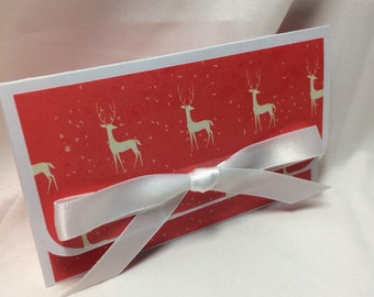 White Reindeer on Red Christmas Card Holder