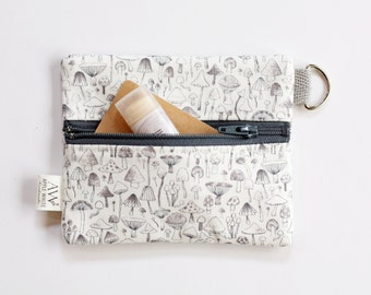 Mushroom Coin Purse, Woodland Zipper Pouch, Coin Wallet, ID Wallet, Gift Idea, Business Card Holder, Credit Card Case, Gift Card Holder