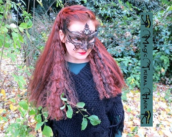 GOTH HAIR FALLS custom color Gothic Witch Wicca hair piece 24''/ 60 cm long Steampunk Pirate hair extensions Viking Renfaire & Cosplay Wig