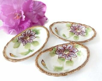 Bone China Salt Dishes Individual Salt Dip Porcelain Open Salt Antique Lavender Purple Flower Clematis Gold Rim Oval Victorian Personal Size