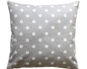 SALE Accent Pillows, Polka Dot Storm Grey Pillow Cover, Zippered Pillow, Bed Pillows, Gray Pillow Case, Decorative Throw Pillow, Grey Dot Pi