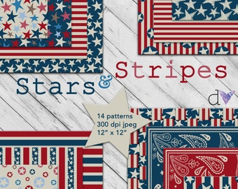 Stars + Stripes Patriotic Digital Paper Pack 14 Pages Instant Download - Red White and Blue