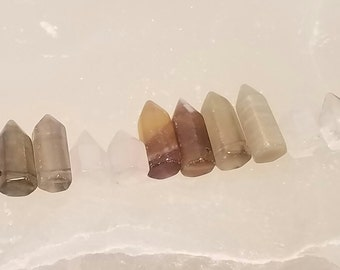 Fluorite Mini Points, Matched Pairs, Side Drilled, 10 pcs, Energetic Stones, mini#1