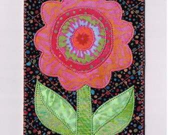 Flower Birthday Card HAPPY FLOWER Fabric Postcard Friend Mom Grandma Gift Frame Housewarming Hello Thanks Room Decor4x6 Quilted Postcard
