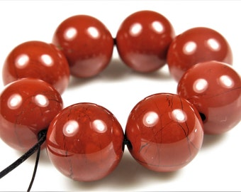 Luscious Quality Brick Red Jasper Large Round Bead - 13mm - 8 Beads - B6588