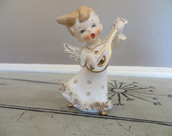 Norcrest Bow Angel Playing Harp Vintage Lefton Angel White and Gold with Spaghetti Trim Wall Hanger Napco