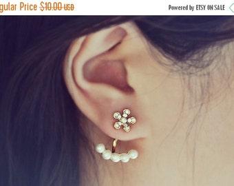 SALE Gold Flower and Pearls Ear Jacket Earrings
