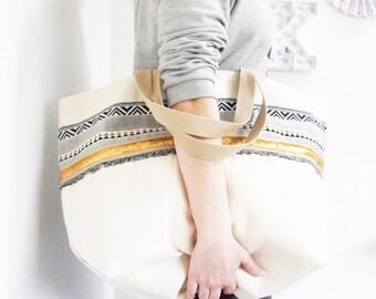 "Cotton tote bag golden geometric cotton and glitter ""Sierra"" // Glitter bag // summer bag"