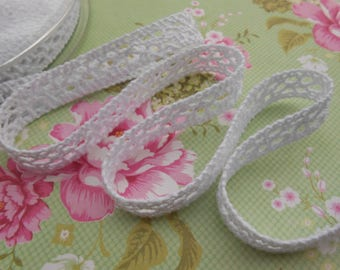 "Lace Cotton White or Ecrù 3/8"" width 5 yards"