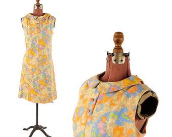 Vintage 1960's Soft Linen Mod Abstract Floral Print Mini Mod Shift Scooter Summer Dress L
