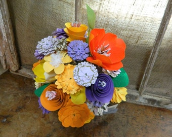 Spring Meadow  - Violet, tangerine and marigold paper flower bouquet with FREE magnet