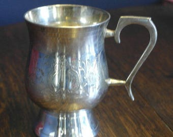 antique etched silver plate tankard