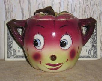 Vintage Bowl Animated Crazy Captain Ceramic Sugar Beet Sugar Bowl 1940's