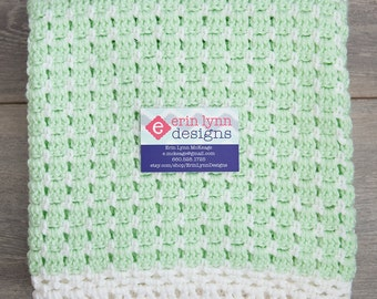 Minty Green and White Crochet Baby Blanket