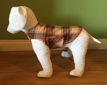 XS, Small, or Small/Medium Fleece & Flannel Dog Jacket, Dog Coat, Cranberry Red, Green, and Oatmeal Plaid Flannel with Red Fleece Lining