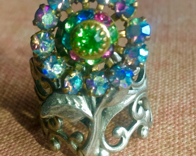 Jewelry, Rings for Women, Swarovski Ring, Vintage Crystal Ring, Flower Ring, Handmade Ring