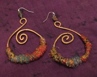 Tribal Gypsy Hoop Earrings Jewellery Recycled Fabric Turquoise Copper Silver Ear Rings Wire Wrap Festival Jewelry Bohemian Boho Gypsie Tribe
