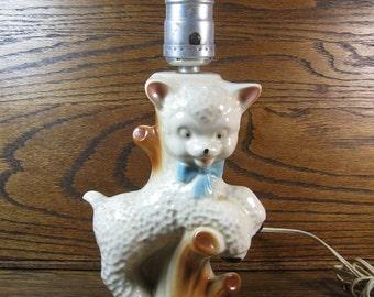Cutest Vintage 1950's Ceramic Figural Lamb Side Table Dresser Lamp Nursery Baby Child's Room Shower Gift Decorator