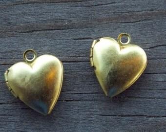 6 Brass Heart Locket Charms 15mm