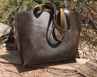 Rustic Leather Tote- Hand Stitched Leather Tote- Leather Shopper- Leather Bag-