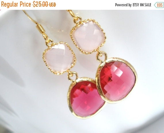 SALE Glass Earrings, Pink Earrings, Gold Fuschia Earrings, Soft Pink, Fuchsia, Bridesmaid Earrings, Bridal Earrings Jewelry, Bridesmaid Gift