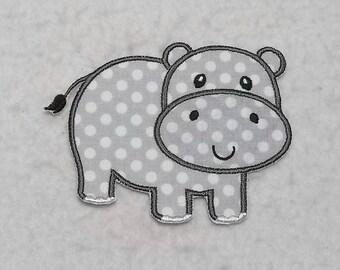 Hippo (large) Tutu & Shirt Supplies - fabric iron on Applique Patch 8317