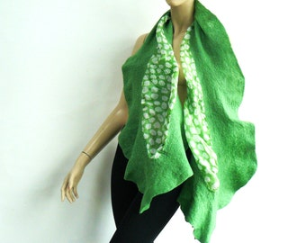 Felted Scarf Nunofelt Nuno Felted Shawl Nuno Felt Scarves Felt Wrap wearable art Silk Fiber Art