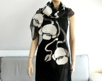 Felted scarf Nuno felt shawl silk and wool , Black and white